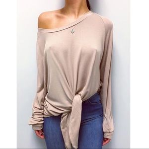 SEATTLE Tie Front Top - TAUPE